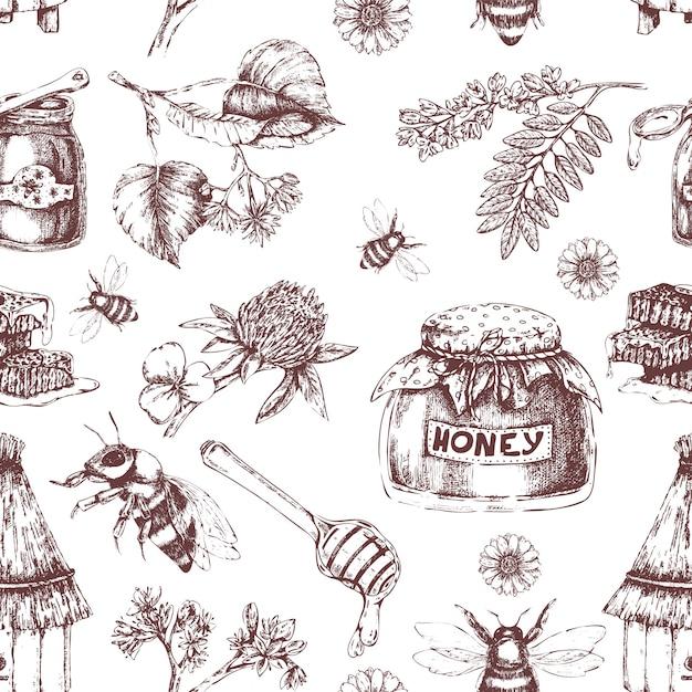 蜂蜜の手描きのシームレスパターン 無料ベクター