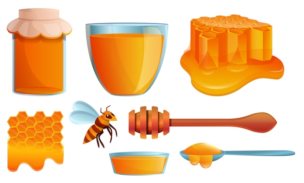 Honey icons set, cartoon style Premium Vector