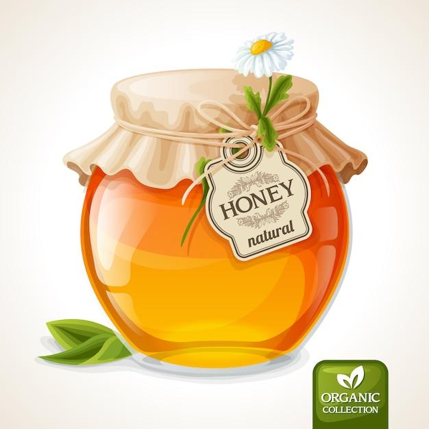 Honey jar glass Premium Vector