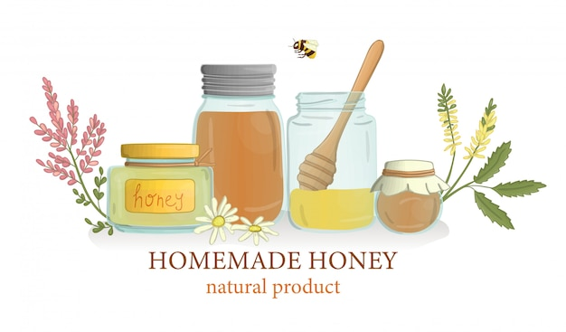 Honey jars with wild flowers and bee Premium Vector