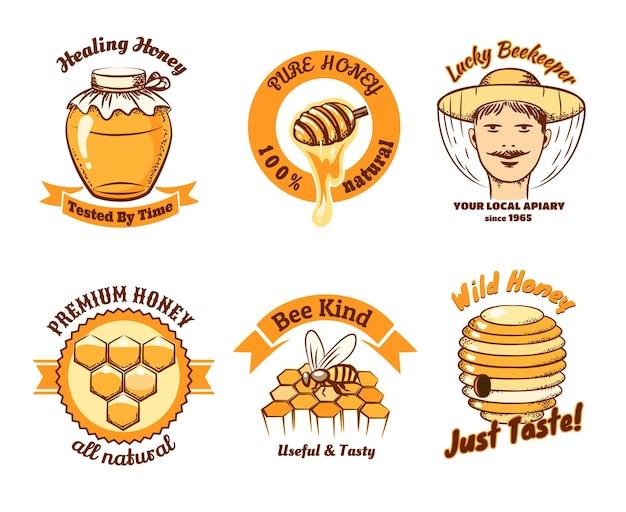 Этикетки меда и логотип пчеловодства. пищевые сладости, насекомые и клетки, соты и пчелиный воск, соты и воск. Бесплатные векторы