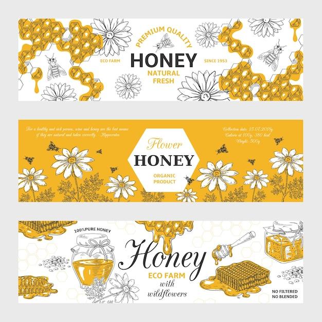 Этикетки для меда. соты и пчелы старинный эскиз фон, рисованной органические продукты питания ретро Premium векторы