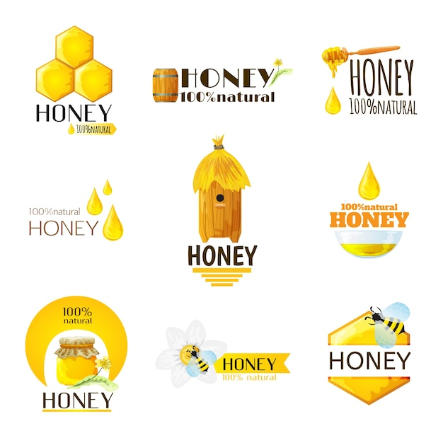 Honey labels set Free Vector