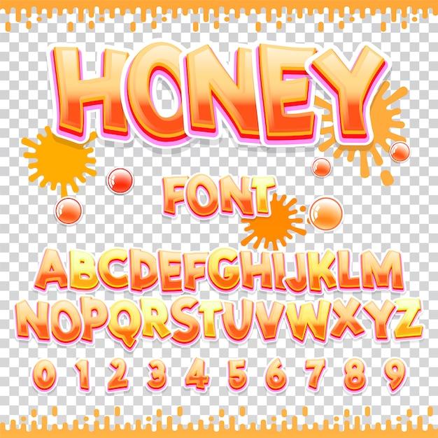 Honey latin font design Premium Vector