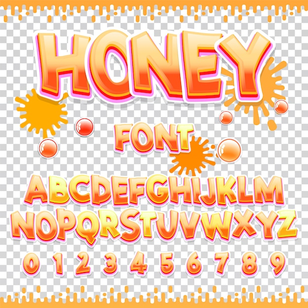 Honey latinフォントデザイン Premiumベクター