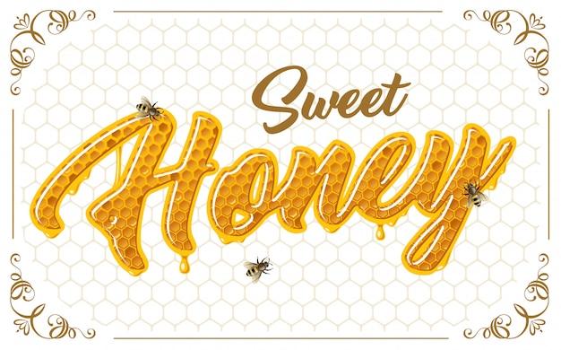 蜂と蜂蜜のレタリング 無料ベクター