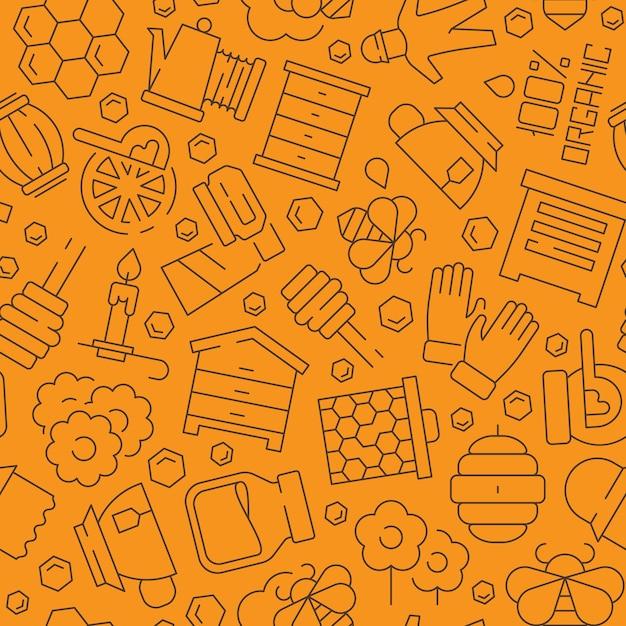 Медовый узор. пчелы расчесывают жидкие здоровые продукты пасеки символы вектор бесшовный фон. медовый узор, пчела и соты Premium векторы