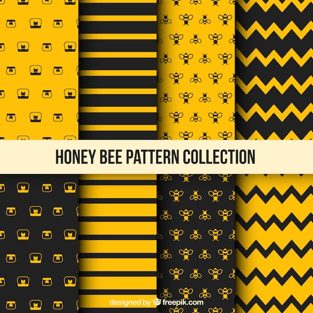 Honey Pattern With Bees Vector Free Download Extraordinary Bee Pattern