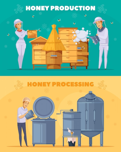 Banner di honey production cartoon orizzontale Vettore gratuito