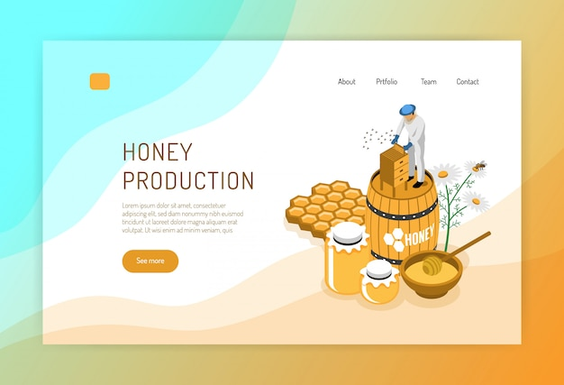 Honey production isometric concept of web page with beekeeper during work on color Free Vector