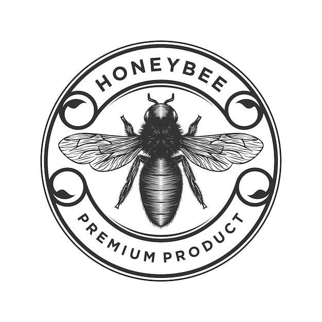Honey products or honey bee farms logo Premium Vector