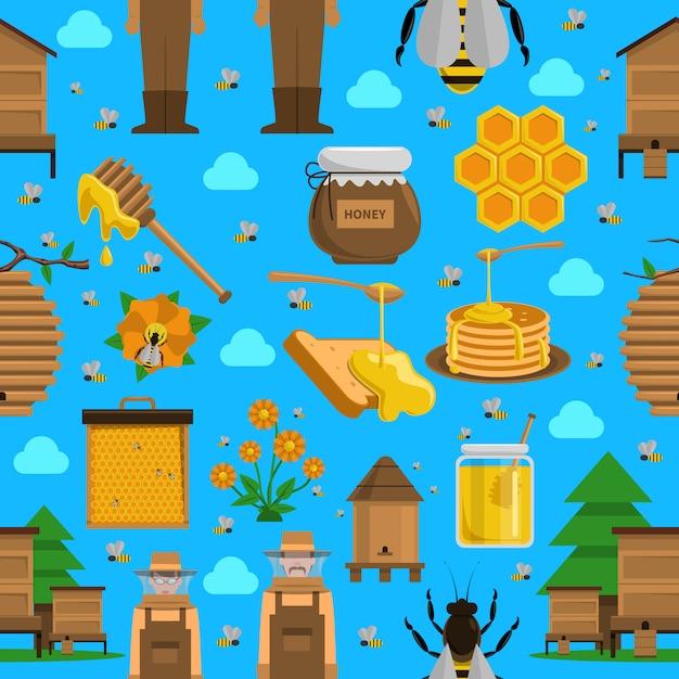 Honey seamless pattern Free Vector