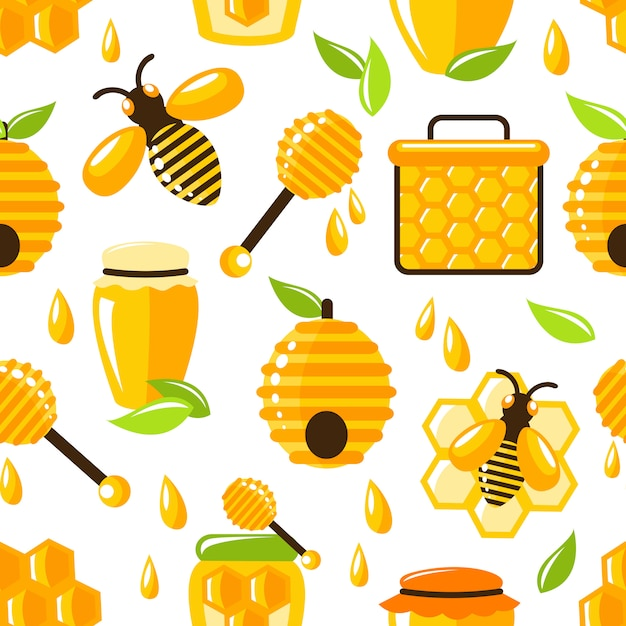 Honey seamless pattern Free Vector