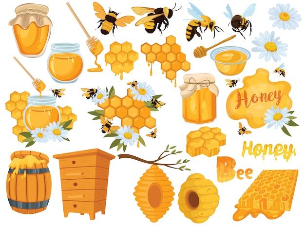 Медовый набор. коллекция пчеловодства. иллюстрация улья, пчел и сот. Premium векторы