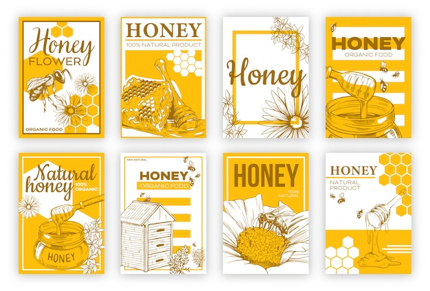 Honey sketch flat poster set Free Vector