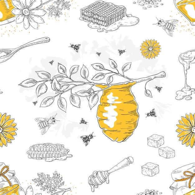 蜂蜜のスケッチパターン。手描きのハニカムと蜂の巣のシームレスなパターン Premiumベクター
