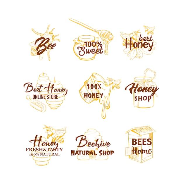 Set di loghi di miele schizzi, alveare, vaso di miele, barile, vaso, cucchiaio e disegni a mano di fiori Vettore gratuito