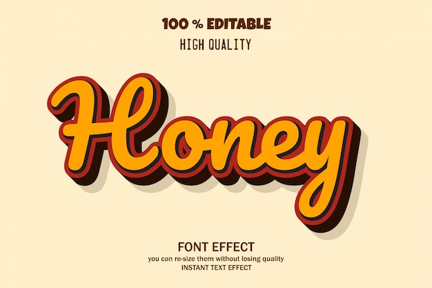 Honey text style, editable font effect Premium Vector