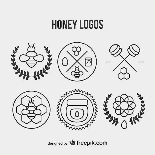 Honey Vintage Logo Set Vector Free Download