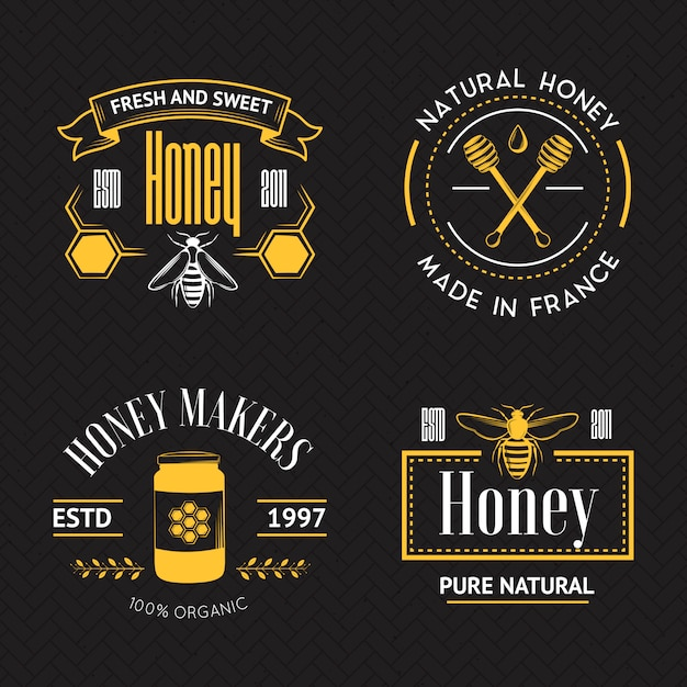Honey vintage logo set Premium Vector