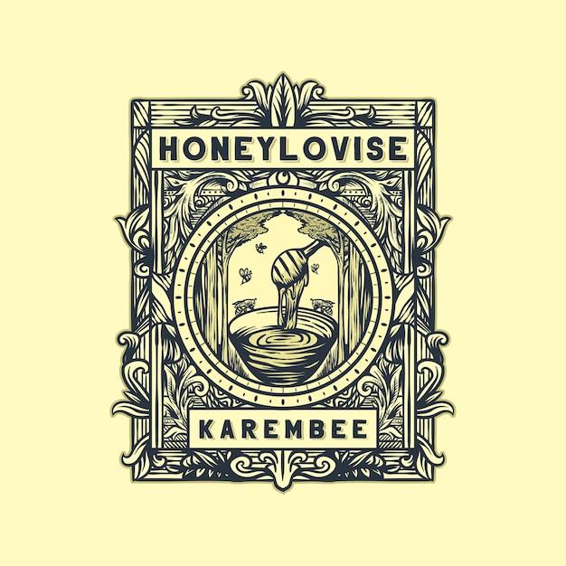 Honey vintage logo vector Premium Vector