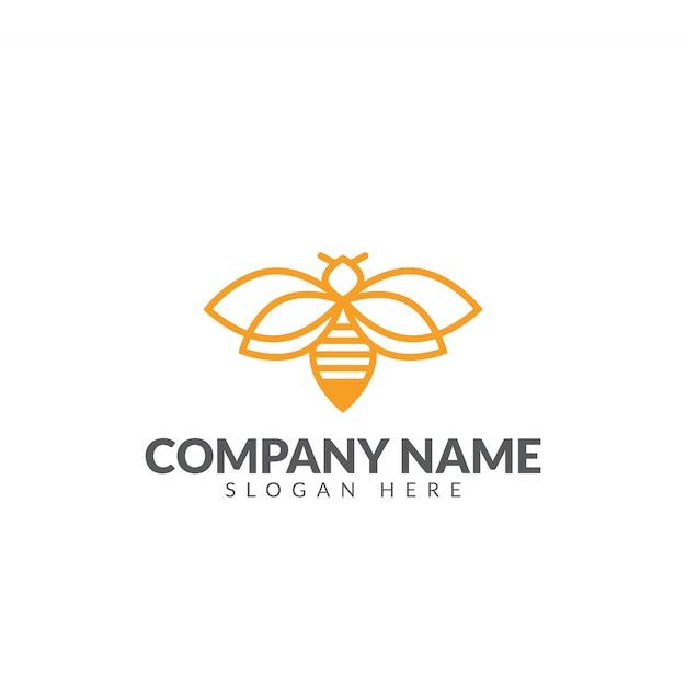 Honeybee logo design vector template Premium Vector