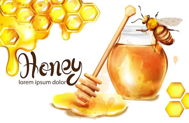 Honeycomb banner watercolor illustration Premium Vector