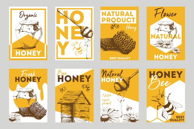 Honeycomb and bees flat flyers set Free Vector