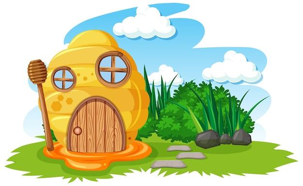 Сотовый дом в саду мультяшном стиле на фоне неба Бесплатные векторы