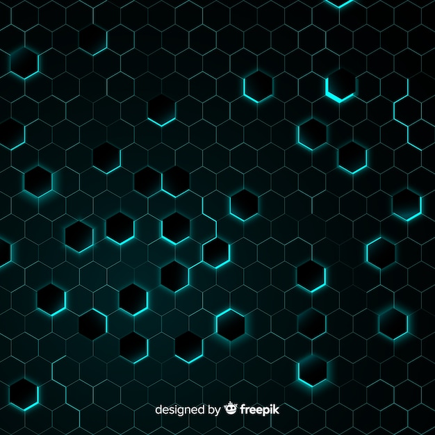 Honeycomb with chaotic light blue light Free Vector