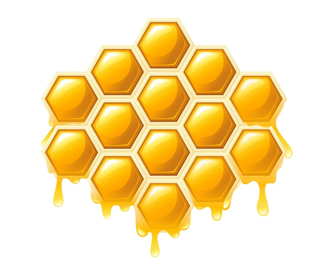 蜂蜜とハニカムします。甘い蜂蜜、ショップやパン屋のロゴ。白い背景の上の図 Premiumベクター