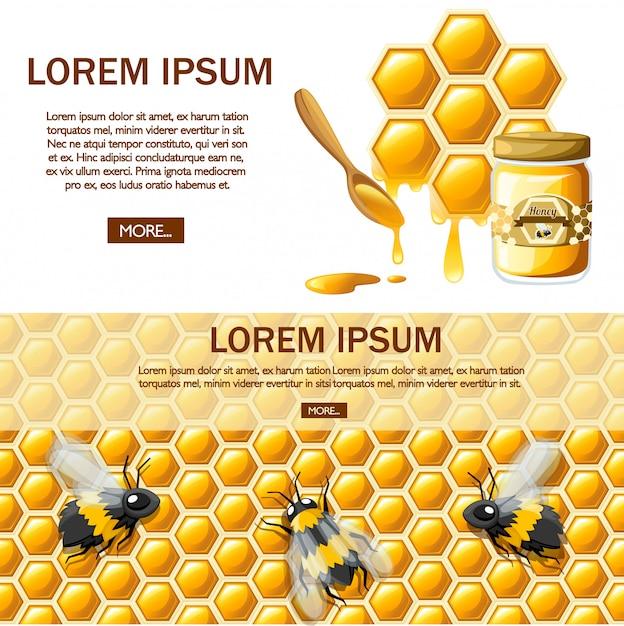 Соты с медовыми каплями. сладкий мед, логотип для магазина или пекарни. страница сайта и мобильное приложение. иллюстрация на белом фоне Premium векторы