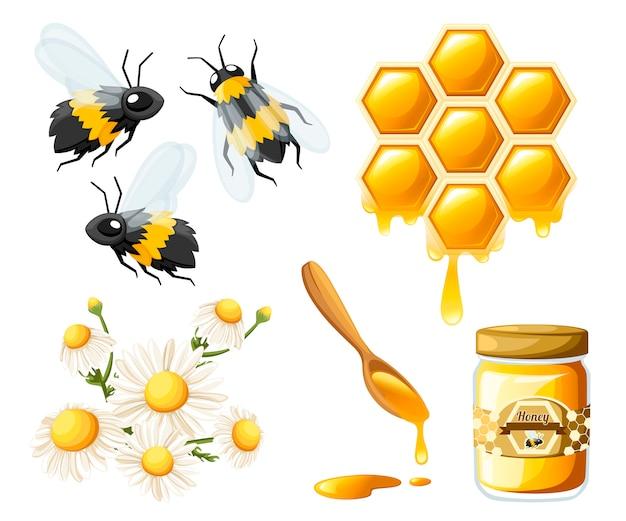 Соты с медовыми каплями. сладкий мед с цветком и пчелами. емкость для меда и ложки. логотип для магазина или пекарни. иллюстрация на белом фоне Premium векторы