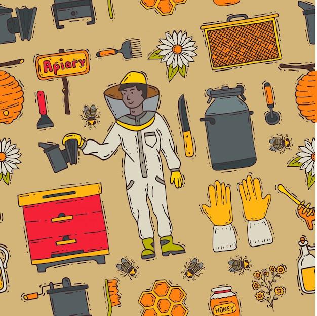 Мед сладкий пчеловод пасека фермы набор иконок пчеловодства honeymaker пчелы насекомых пчелиный воск иллюстрация бесшовный фон фон Premium векторы