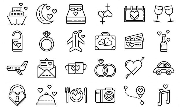 Honeymoon icons set, outline style Premium Vector