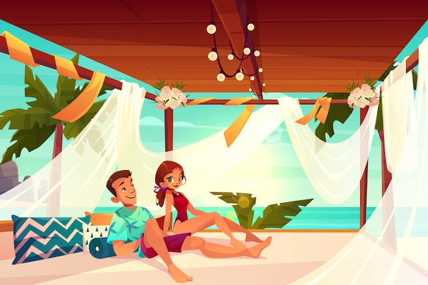 Honeymoon in luxury hotel on tropical resort cartoon vector. Free Vector