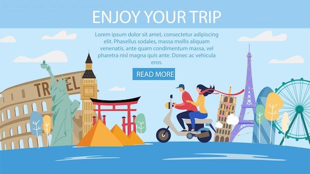 Honeymoon travels offer flat webpage Premium Vector
