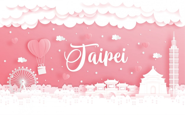 Honeymoon trip and valentine's day card with travel concept to taipei Premium Vector