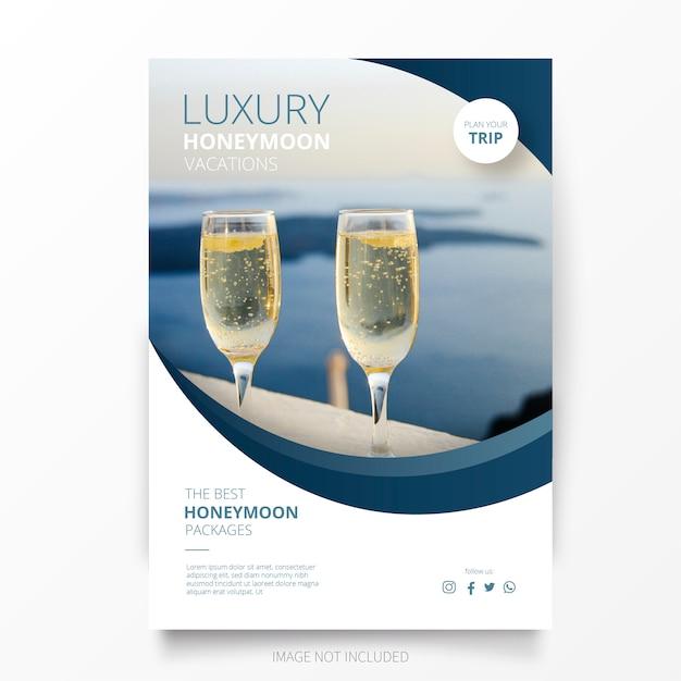 Honeymoon vacation brochure template Free Vector
