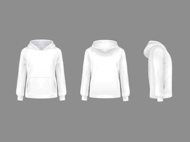 Hoodie толстовка белый 3d реалистичный шаблон макета. Premium векторы
