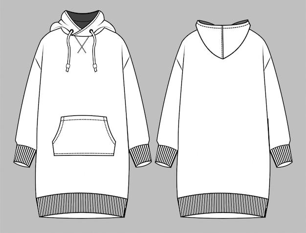 フーディドレスファッションフラットスケッチテンプレート Premiumベクター