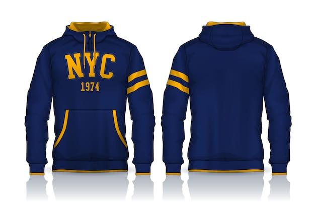 Шаблон рубашки с капюшоном. дизайн куртки, спортивная одежда. вид спереди и сзади. Premium векторы