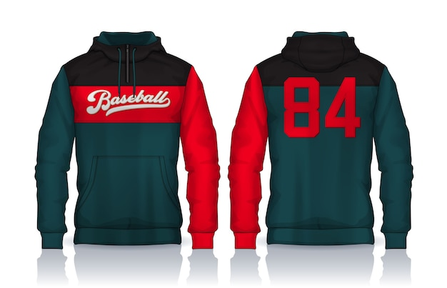 パーカーシャツテンプレート。ジャケットデザイン、スポーツウェアトラックの正面図と背面図。 Premiumベクター