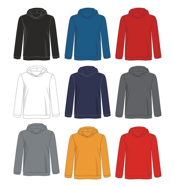パーカースウェットシャツテンプレート Premiumベクター