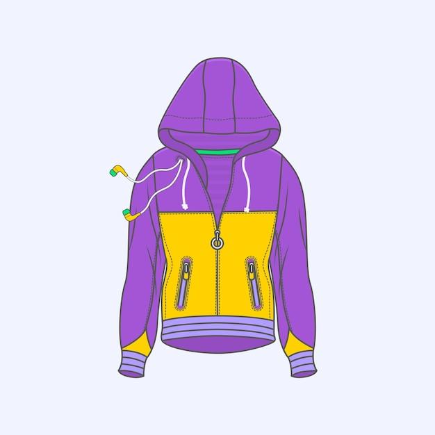 Hoodie для мужчин символ простой значок линии на фоне Premium векторы