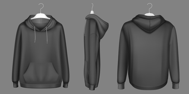 Hoody, black sweatshirt on hanger mock up front, side and back view. isolated hoodie with long sleeves, kangaroo muff pocket and drawstrings. sports, casual urban clothing, realistic 3d template Free Vector