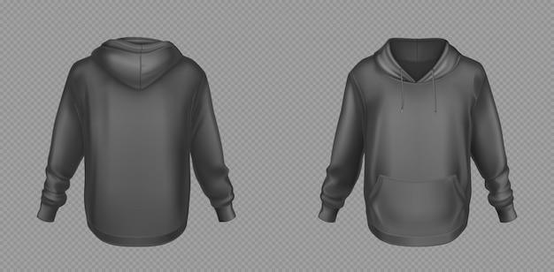 Hoody, black sweatshirt mock up front and back set Free Vector