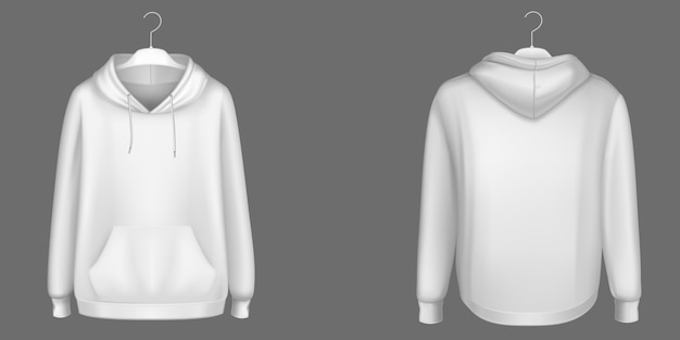 Hoody, white sweatshirt on hanger mock up front and back view. isolated hoodie with long sleeves, kangaroo muff pocket and drawstrings. sports, casual urban clothing, realistic 3d template Free Vector