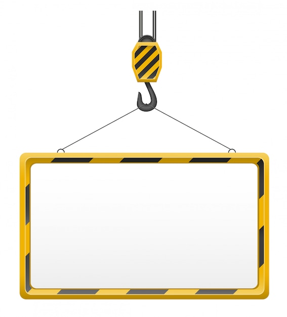 Hook Crane For Building And Blank Template Board Vector