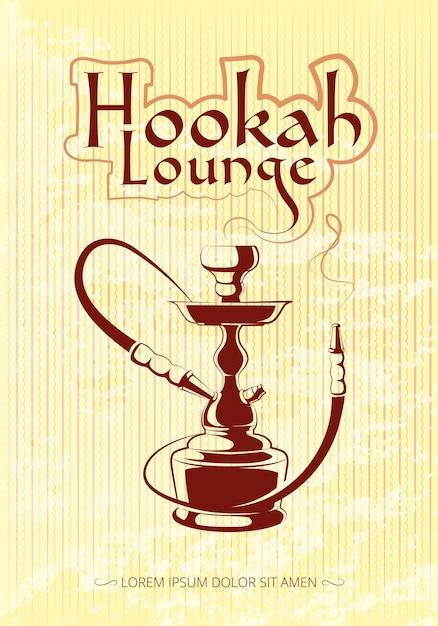 Manifesto di vettore di narghilè bar. tabacco e relax, illustrazione turca o araba Vettore gratuito
